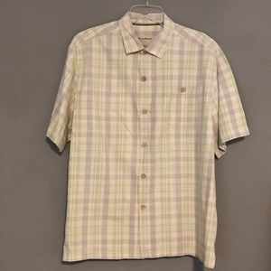 Tommy Bahama XL ButtonGreen Plaid Silk Shirt EUC
